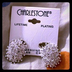 Austrian Crystal clip on rhinestone earrings